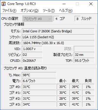 CPU温度 アイドル時